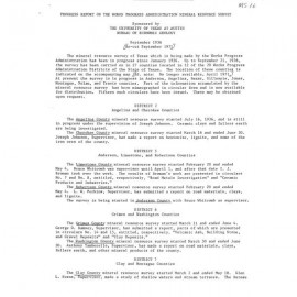 MS0016. Progress Report on the Works Progress Administration Mineral Resource Survey