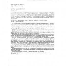 MS0009. Report on the Sheridan Copper Prospect in Burnet County, Texas