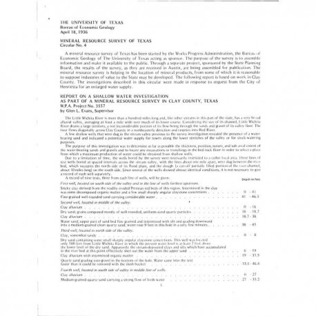 MS0004. Report on a Shallow Water Investigation as Part of a Mineral Resource Survey in Clay County, Texas