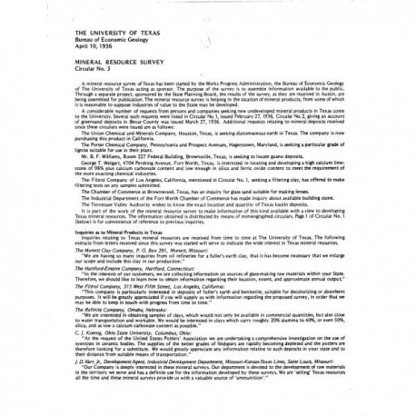 MS0003. Mineral Resource Survey of Texas (summary of progress)