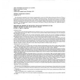MS0053. Preliminary Report on the Rutile and Kaolin Deposits of the Medley District in Jeff Davis County, Texas