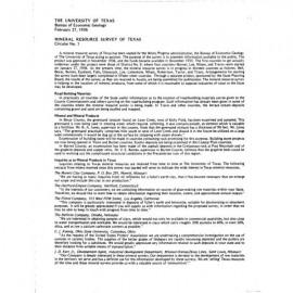 MS0001. Mineral Resource Survey of Texas (summary of progress)