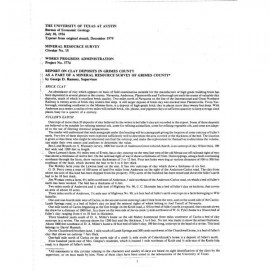 MS0015. Report on Clay Deposits in Grimes County