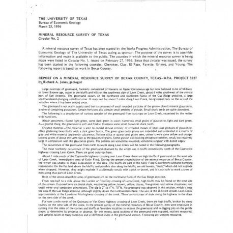 MS0002. Report on a Mineral Resource Survey of Bexar County, Texas