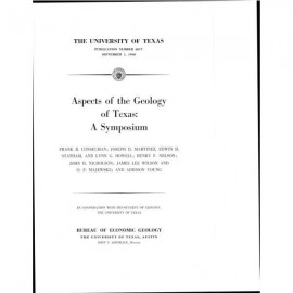 PB6017. Aspects of the Geology of Texas, A Symposium: Pennsylvanian Reef Patterns in West-Central Texas