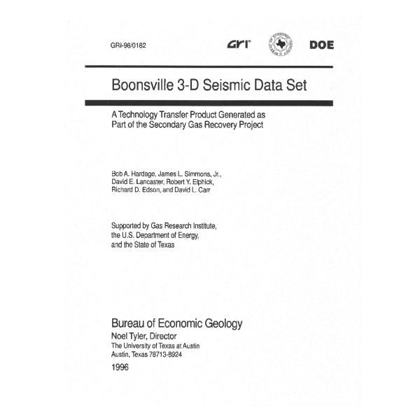 sw boonsville d seismic data set the bureau store sw0007 boonsville 3 d seismic data set
