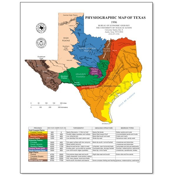 SM0005. Physiographic Map of Texas - The Bureau Store