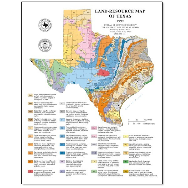 Texas Resource Map SM0007. Land Resources of Texas   Page sized map   Paper   The