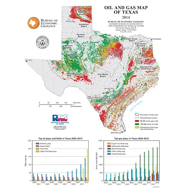 SMP Poster Oil And Gas Map Of Texas The Bureau Store - Gas map