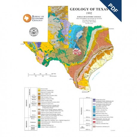 SM0002P. Geology of Texas Map (poster) - Downloadable