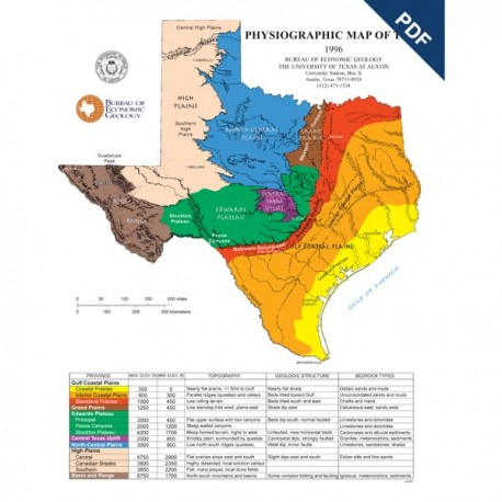SM0005D. Physiographic Map of Texas - Downloadable