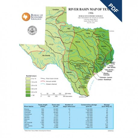 SM0006D. River Basin Map of Texas - Downable