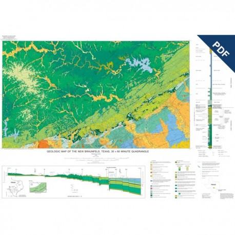 MM0039D. Geologic Map of the New Braunfels, Texas, 30 x 60 Minute Quadrangle  - Downloadable PDF