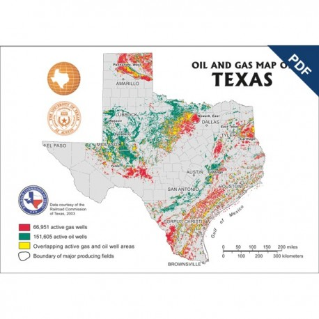 MM0044D. Oil and Gas Map of Texas - Postcard  - Downloadable PDF