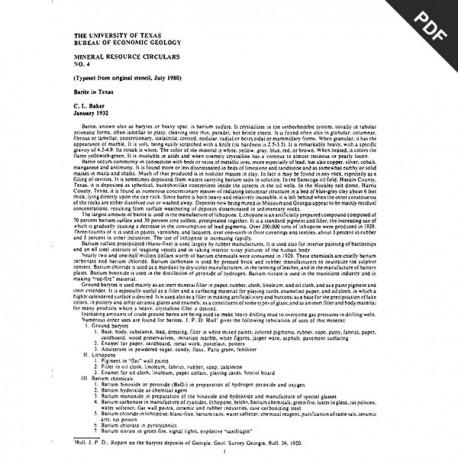 MC0004D. Barite in Texas - Downloadable PDF.