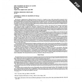 MC0015D. Additional Notes on Graphite in Texas - Downloadable PDF.