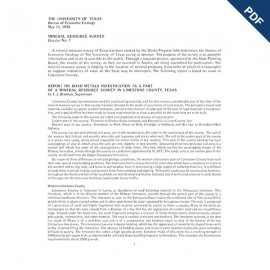 MS0007. Report on Road Metals Investigation as a Part of a Mineral Resource Survey in Limestone County, Texas