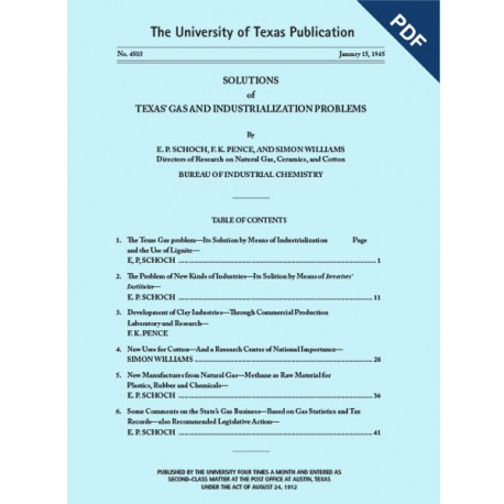 PB4503D. Solutions of Texas' Gas and Industrialization Problems - Downloadable PDF.