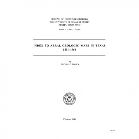 IS0001. Index to Areal Geologic Maps in Texas, 1891-1961